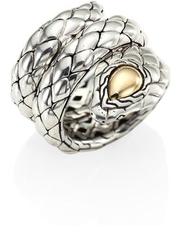 Cobra Sterling Silver & 18k Yellow Gold Ring