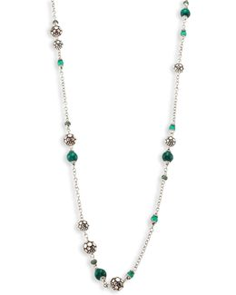 Batu Dot Malachite, Green Onyx, Tsavorite & Sterling Silver Sautoir Necklace