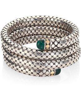 Batu Dot Malachite, 18k Yellow Gold & Sterling Silver Triple Coil Bracelet