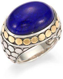 Batu Dot Lapis Lazuli, 18k Yellow Gold & Sterling Silver Dome Ring