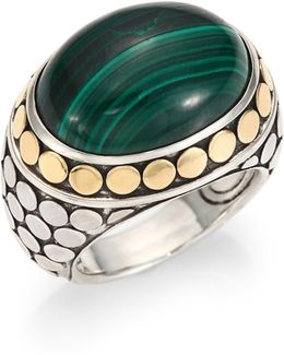 Batu Dot Malachite, 18k Yellow Gold & Sterling Silver Dome Ring