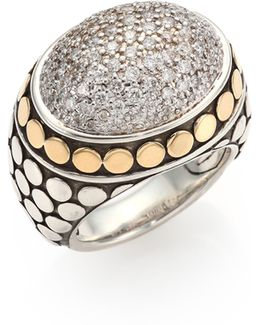 Dot Diamond, 18k Yellow Gold & Sterling Silver Dome Ring