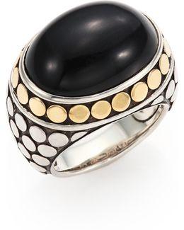 Batu Dot Onyx, 18k Yellow Gold & Sterling Silver Dome Ring