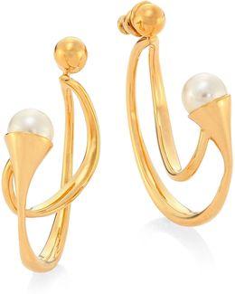 Darcey Swarovski Pearl Hoop Earrings