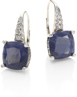 Sterling Silver Classic Chain Magic Cut Sapphire Drop Earrings With Diamonds