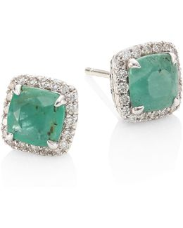 Batu Classic Chain Diamond, Emerald & Sterling Silver Stud Earrings