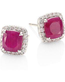 Batu Classic Chain Diamond, Ruby & Sterling Silver Stud Earrings