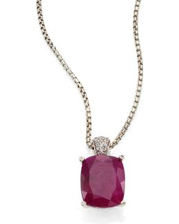 Classic Chain Diamond, Ruby & Sterling Silver Pendant Necklace