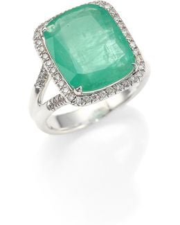 Classic Chain Diamond, Emerald & Sterling Silver Ring