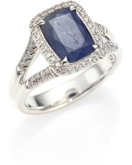 Classic Chain Diamond, Blue Sapphire & Sterling Silver Ring