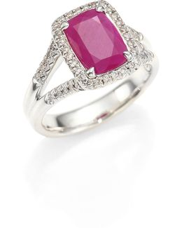 Classic Chain Diamond, Ruby & Sterling Silver Ring