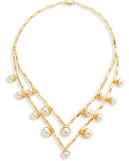 Faux-pearl Bud Multi-strand Necklace
