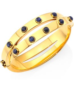 Lapis & Metallic Leather Double-wrap Bracelet