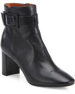 Vanie Buckle Leather Block Heel Booties