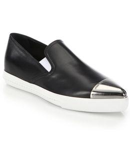 Cap Toe Leather Skate Sneakers