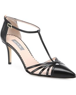 Carrie T-strap Leather Pumps