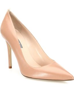 Fawn Leather Point Toe Pumps