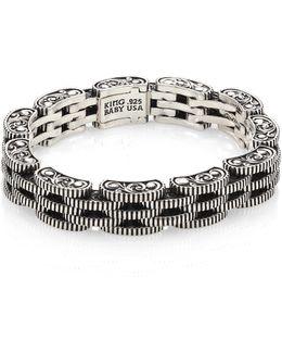 Sterling Silver Five Row Rotor Link Bracelet
