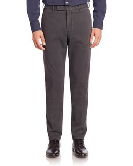 Flat-front Stretch-cotton Trousers
