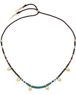 Simple Mother-of-pearl, Turquoise & Jade Necklace