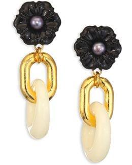 Black Dahlia Cultured Freshwater Pearl Drop Earrings