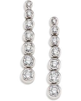 Bezel-set Diamond & 18k White Gold Drop Earrings