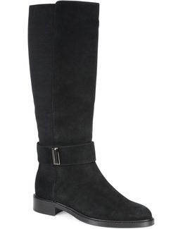 Giada Suede Flat Riding Boots