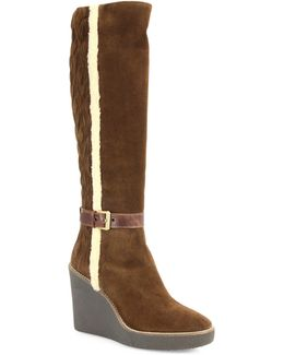 Viviana Suede and Faux-Fur Wedge Boots
