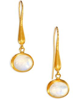 Amulet Moonstone & 24k Gold Drop Earrings