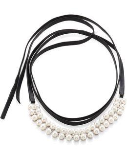 Monarch Faux Pearl & Leather Wrap Choker
