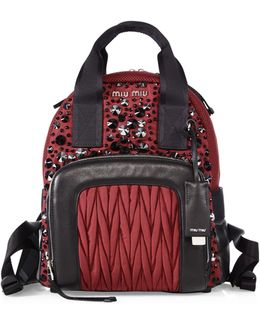 Embellished Leather Trim Backpack