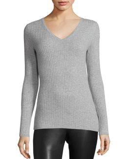 Ribbed Long Sleeve Cashmere Top