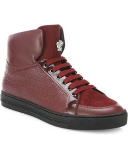 Grecca Embroidered High-top Sneakers