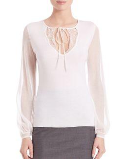 Malia Merino Wool Sheer Sleeve Top