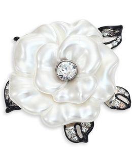 Faux-pearl Flower Pin