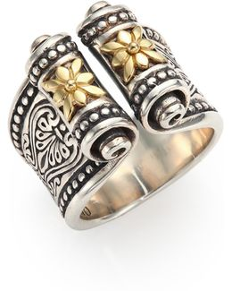 Penelope 18k Yellow Gold & Sterling Silver Etched Scroll Ring