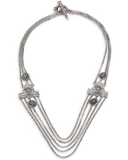 Penelope Sterling Silver Multi-row Station Necklace