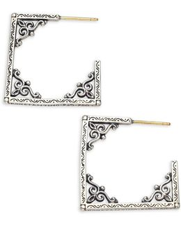 Penelope Sterling Silver Window Hoop Earrings