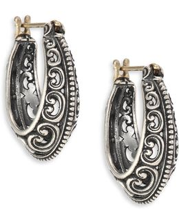 Penelope Sterling Silver Filigree Hoop Earrings/1