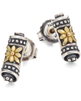 Penelope 18k Yellow Gold & Sterling Silver Scroll Stud Earrings