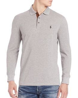 Heathered Cotton Blend Polo Tee