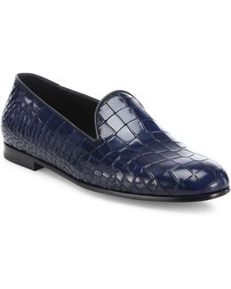 Croc-printed Leather Loafers