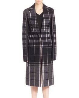 Leather & Plaid Wool Overcoat