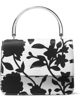 Floral-print Leather Flap Bag