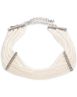 Eight Strand Faux-pearl & Crystal Choker Necklace
