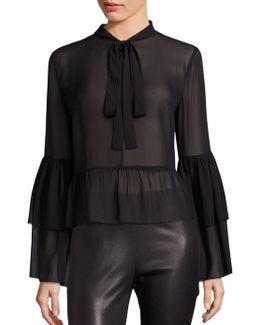 Silk Bell Sleeve Blouse