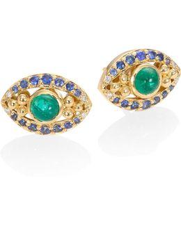 Evil Eye Diamond, Emerald, Blue Sapphire & 18k Yellow Gold Stud Earrings