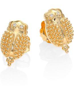 Scarab Diamond & 18k Yellow Gold Stud Earrings