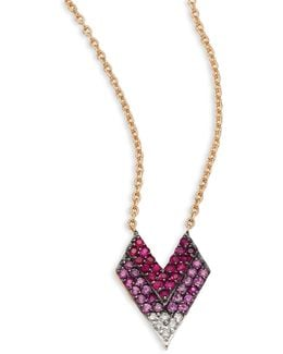 Shades Of Love Diamond, Ruby, Pink Sapphire & 14k Rose Gold Pendant Necklace