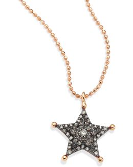 Sherriff Star Champagne Diamond & 14k Rose Gold Pendant Necklace